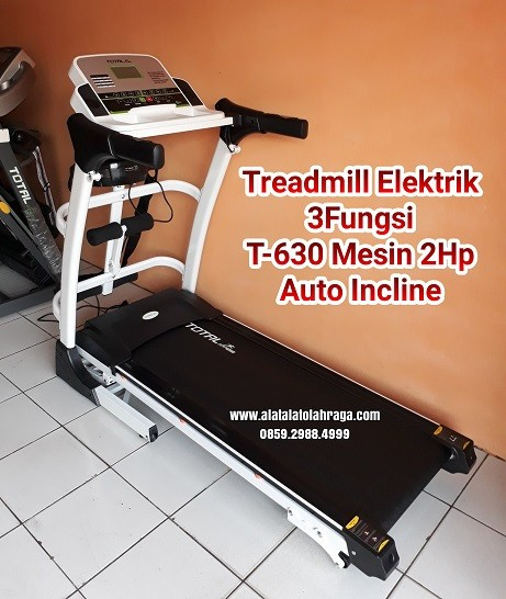 Treadmill Elektrik 3in1 T-630 White Mesin 2hp Auto Incline